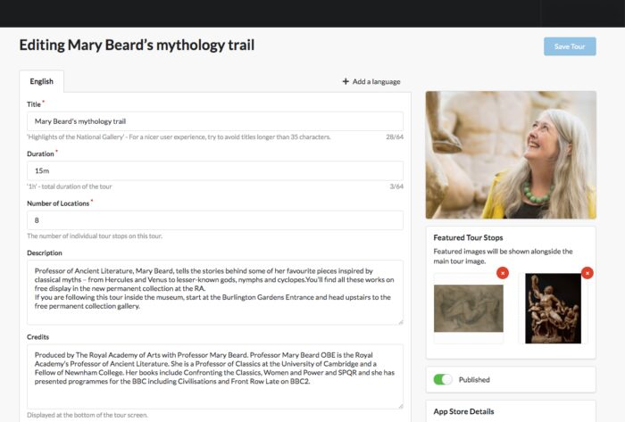 Mary Beard Trail Screenshot mockup