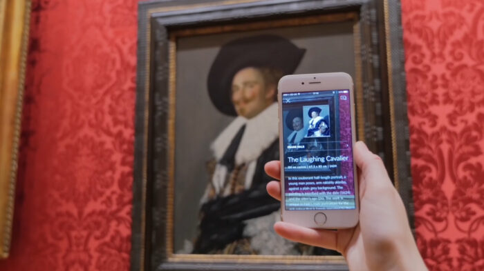 Smartify user scanning Frans Halss The Laughing Cavalier 1624 at The Wallace Collection London 2017 Smartify